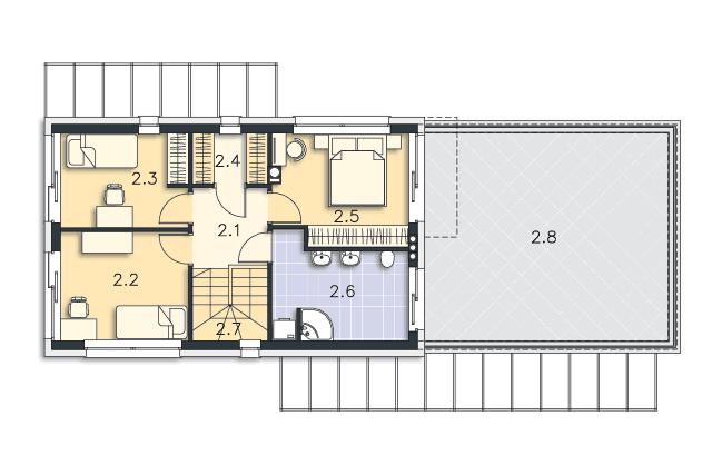 Zobacz powiększenie rzutu kondygnacji Piętro - projekt Belfast VI