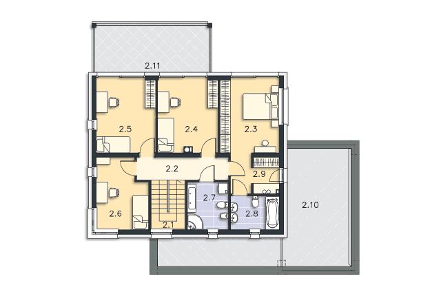 Zobacz powiększenie rzutu kondygnacji Piętro - projekt Carrara V