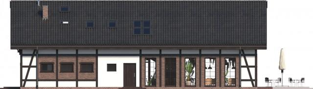 Zobacz powiększenie elewacji ogrodowej - projekt Budynek usługowy Orzeł II