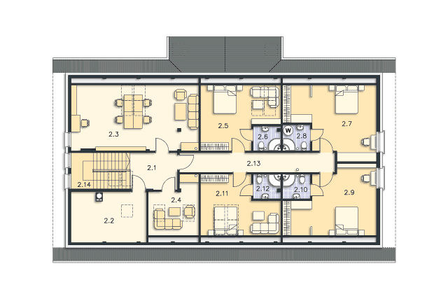Zobacz powiększenie rzutu kondygnacji Poddasze - projekt Budynek usługowy Orzeł II