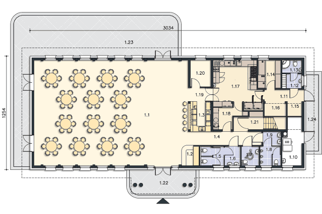 Zobacz powiększenie rzutu kondygnacji Parter - projekt Budynek usługowy Puchacz