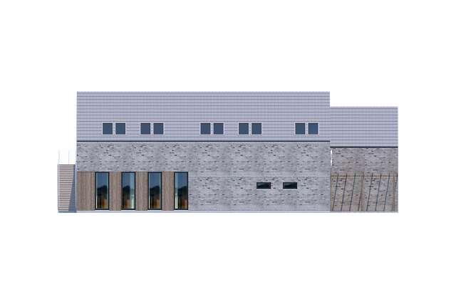 Zobacz powiększenie elewacji bocznej lewej - projekt Budynek usługowy Jastrząb
