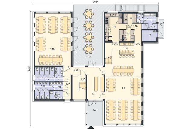 Zobacz powiększenie rzutu kondygnacji Parter - projekt Budynek usługowy Jastrząb