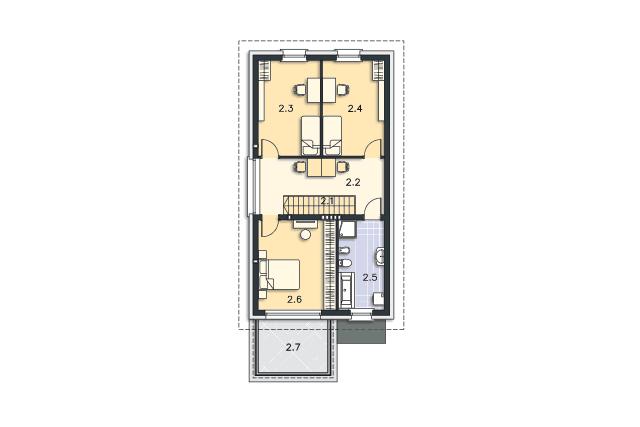 Zobacz powiększenie rzutu kondygnacji Piętro - projekt Brunico II