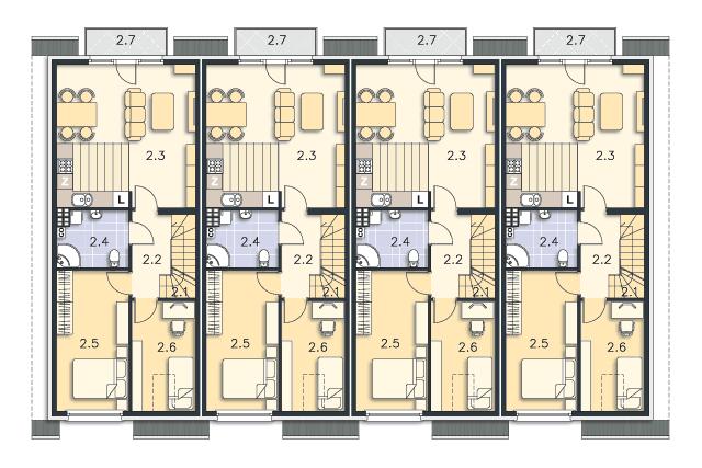 Zobacz powiększenie rzutu kondygnacji Piętro (mieszkanie 2) - projekt Bendigo