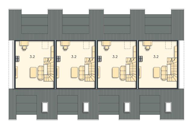 Zobacz powiększenie rzutu kondygnacji Poddasze (mieszkanie 2) - projekt Bendigo