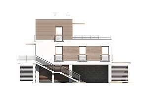 Elewacja boczna lewa - projekt Santorini