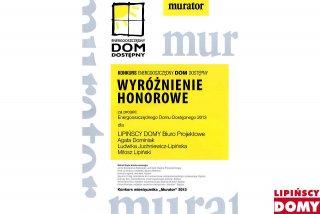 Otrzymaliśmy wyróżnienie w konkursie Muratora na Energooszczędny Dom Dostęny 2013