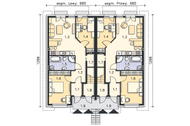 Rzut kondygnacji Parter - projekt Everett II