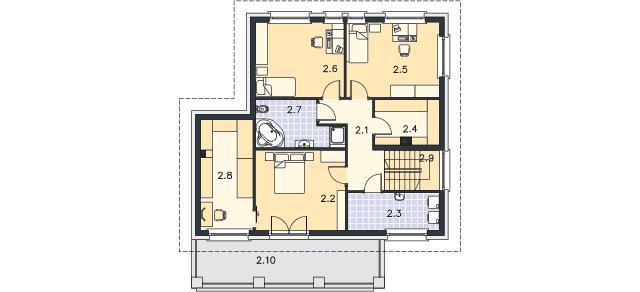 Rzut kondygnacji Piętro - projekt Kolonia