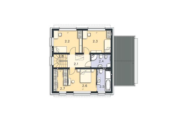 Zobacz powiększenie rzutu kondygnacji Piętro - projekt Skagen