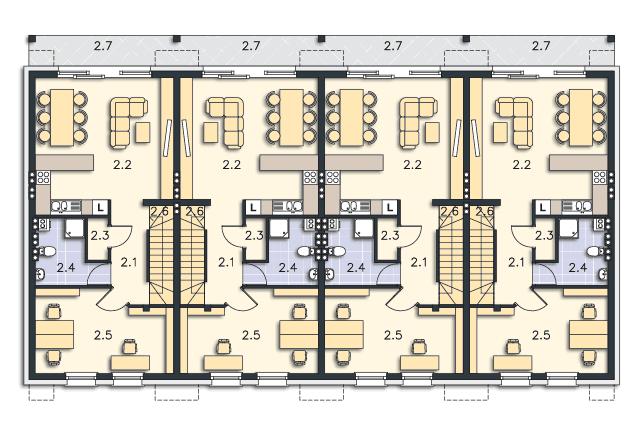 Zobacz powiększenie rzutu kondygnacji Piętro (mieszkanie 2) - projekt Belfort