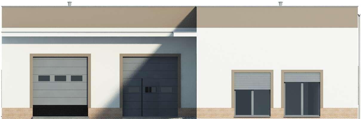 Elewacja boczna prawa - projekt Budynek usługowy