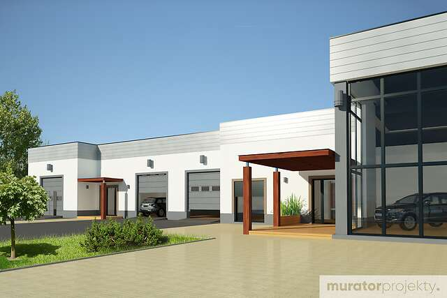 Zobacz powiększenie wizualizacji frontowej - projekt Budynek usługowy
