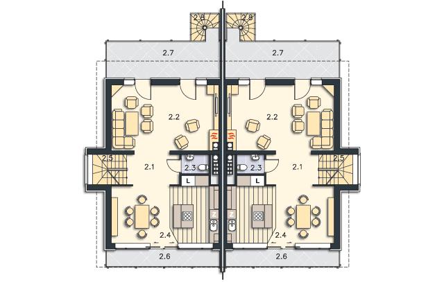 Rzut kondygnacji Piętro - projekt Przez ścianę