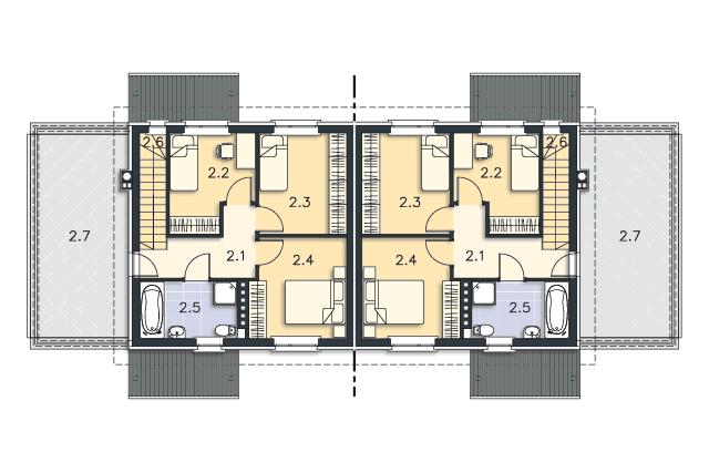 Zobacz powiększenie rzutu kondygnacji Piętro - projekt Glasgow II