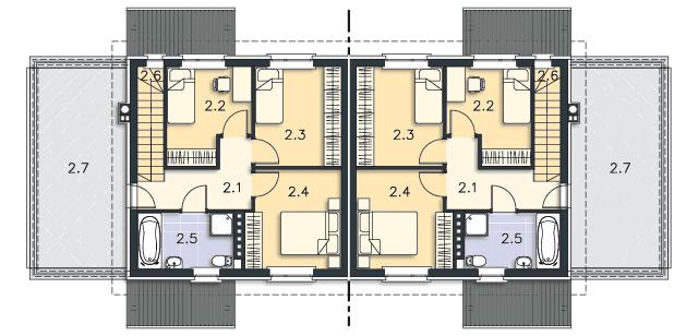 Rzut kondygnacji Piętro - projekt Glasgow II