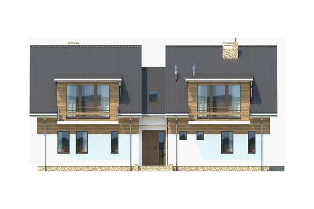Zobacz powiększenie elewacji frontowej - projekt Budynek agroturystyczny Brzoza