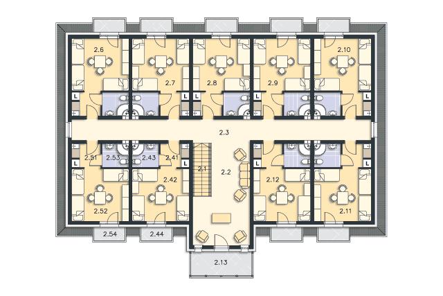Zobacz powiększenie rzutu kondygnacji Poddasze - projekt Budynek agroturystyczny Ambrowiec