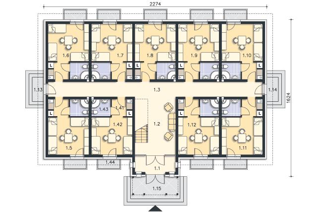 Zobacz powiększenie rzutu kondygnacji Parter - projekt Budynek wypoczynkowy Ambrowiec