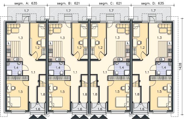 Rzut kondygnacji Parter (mieszkanie 1) - projekt Belize